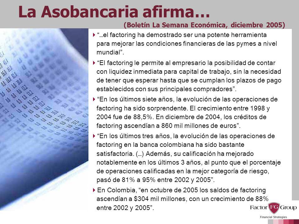 La Asobancaria afirma… (Boletín La Semana Económica, diciembre 2005) …el factoring ha demostrado ser una potente herramienta para mejorar las condicio