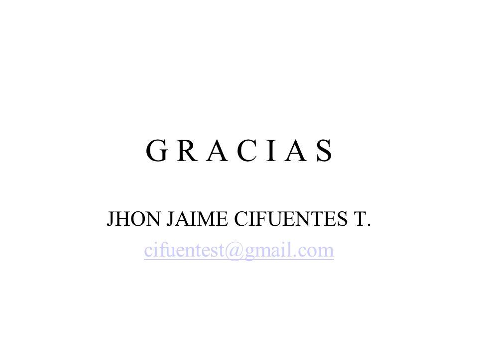 G R A C I A S JHON JAIME CIFUENTES T. cifuentest@gmail.com