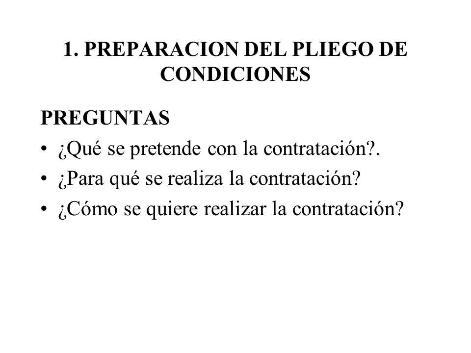 1. PREPARACION DEL PLIEGO DE CONDICIONES PREGUNTAS ¿Qué se pretende con la contratación?. ¿Para qué se realiza la contratación? ¿Cómo se quiere realiz