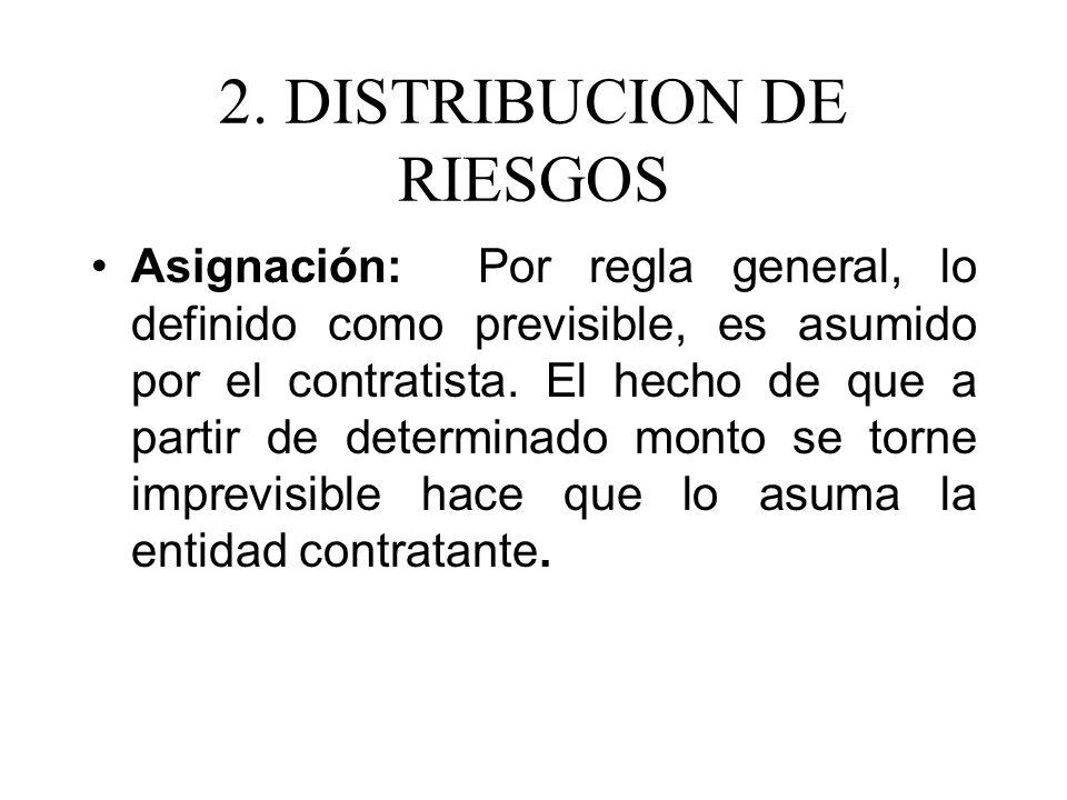 2. DISTRIBUCION DE RIESGOS Asignación: Por regla general, lo definido como previsible, es asumido por el contratista. El hecho de que a partir de dete