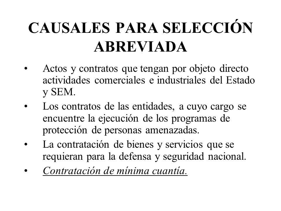 CAUSALES PARA SELECCIÓN ABREVIADA Actos y contratos que tengan por objeto directo actividades comerciales e industriales del Estado y SEM.