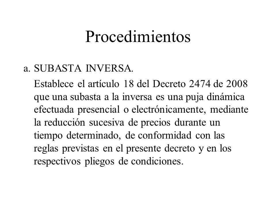 Procedimientos a.SUBASTA INVERSA.