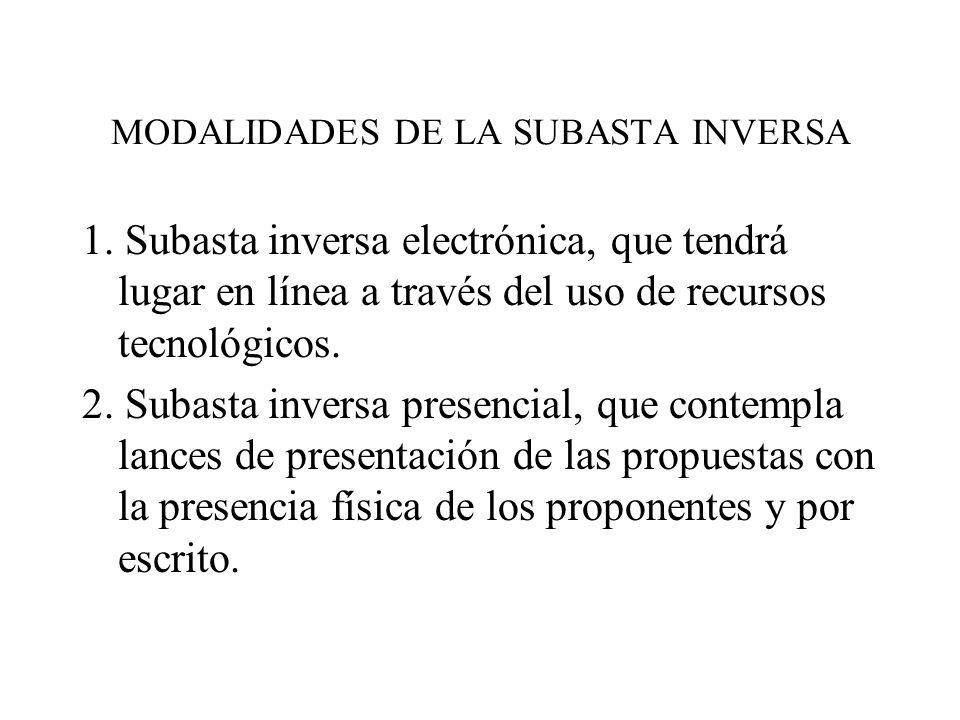 MODALIDADES DE LA SUBASTA INVERSA 1.