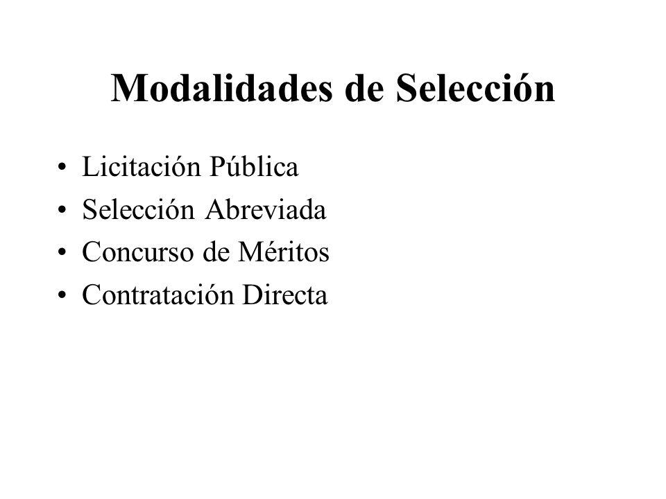 Modalidades de Selección Licitación Pública Selección Abreviada Concurso de Méritos Contratación Directa