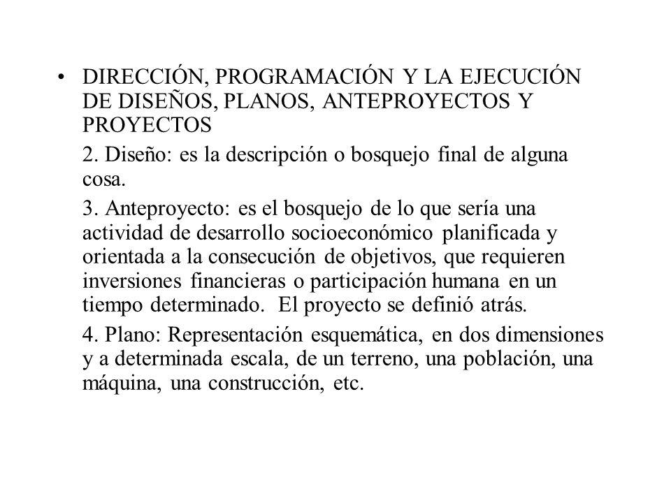 DIRECCIÓN, PROGRAMACIÓN Y LA EJECUCIÓN DE DISEÑOS, PLANOS, ANTEPROYECTOS Y PROYECTOS 2.
