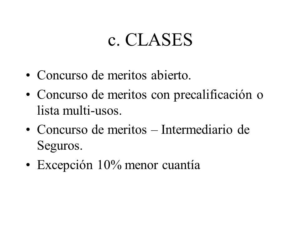 c.CLASES Concurso de meritos abierto. Concurso de meritos con precalificación o lista multi-usos.