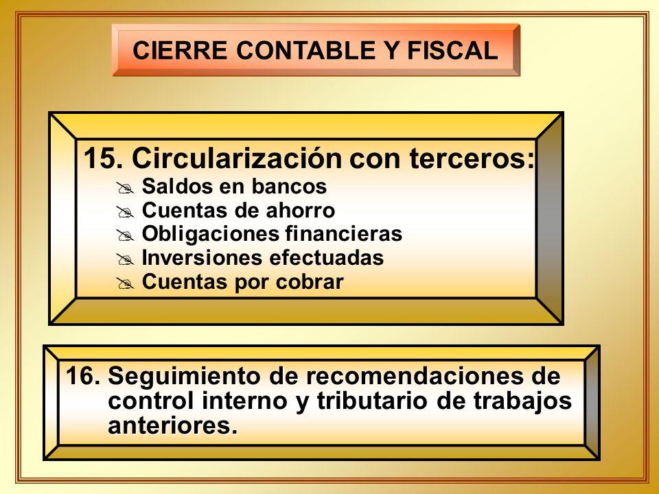 CIERRE CONTABLE Y FISCAL 15. Circularización con terceros: Saldos en bancos Cuentas de ahorro Obligaciones financieras Inversiones efectuadas Cuentas