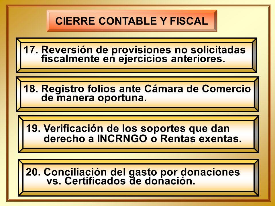 CIERRE CONTABLE Y FISCAL 17. Reversión de provisiones no solicitadas fiscalmente en ejercicios anteriores. fiscalmente en ejercicios anteriores. 19. V
