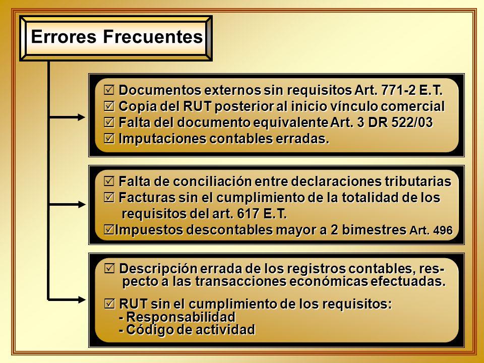 Errores Frecuentes Documentos externos sin requisitos Art. 771-2 E.T. Copia del RUT posterior al inicio vínculo comercial Copia del RUT posterior al i