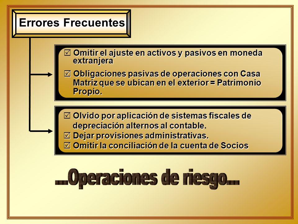 Errores Frecuentes Omitir el ajuste en activos y pasivos en moneda extranjera extranjera Obligaciones pasivas de operaciones con Casa Obligaciones pas
