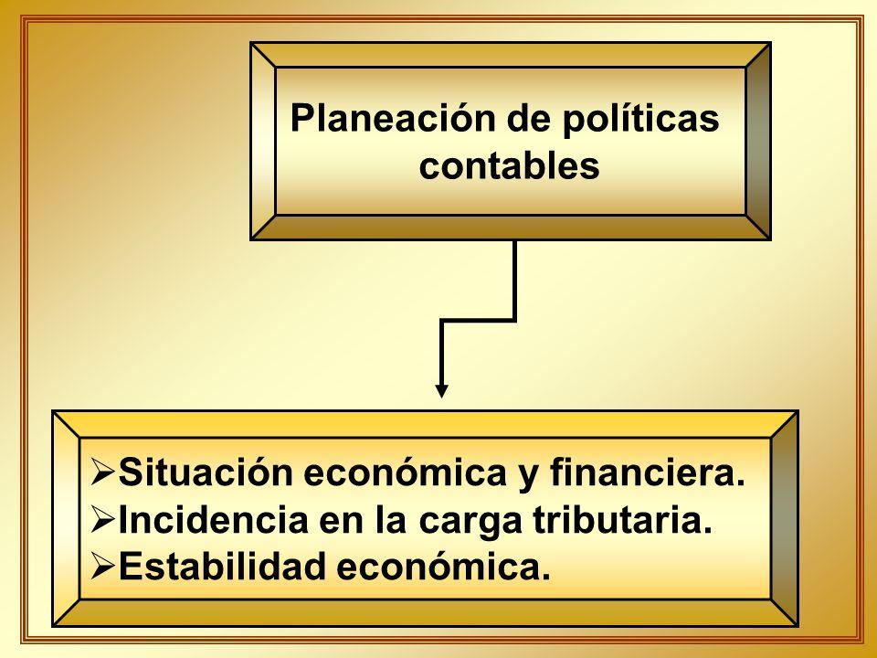 Planeación de políticas contables Situación económica y financiera. Incidencia en la carga tributaria. Estabilidad económica.