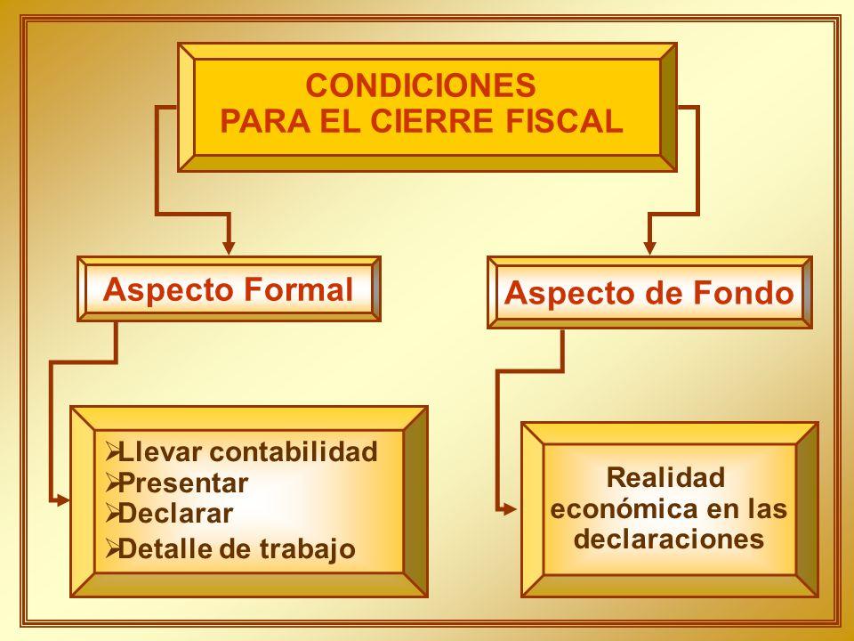 CONDICIONES PARA EL CIERRE FISCAL Aspecto de Fondo Aspecto Formal Realidad económica en las declaraciones Llevar contabilidad Presentar Declarar Detal