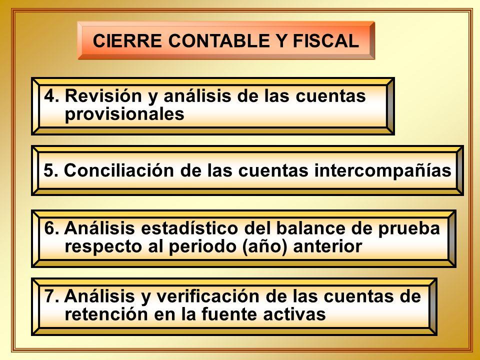 4. Revisión y análisis de las cuentas provisionales CIERRE CONTABLE Y FISCAL 5. Conciliación de las cuentas intercompañías 6. Análisis estadístico del