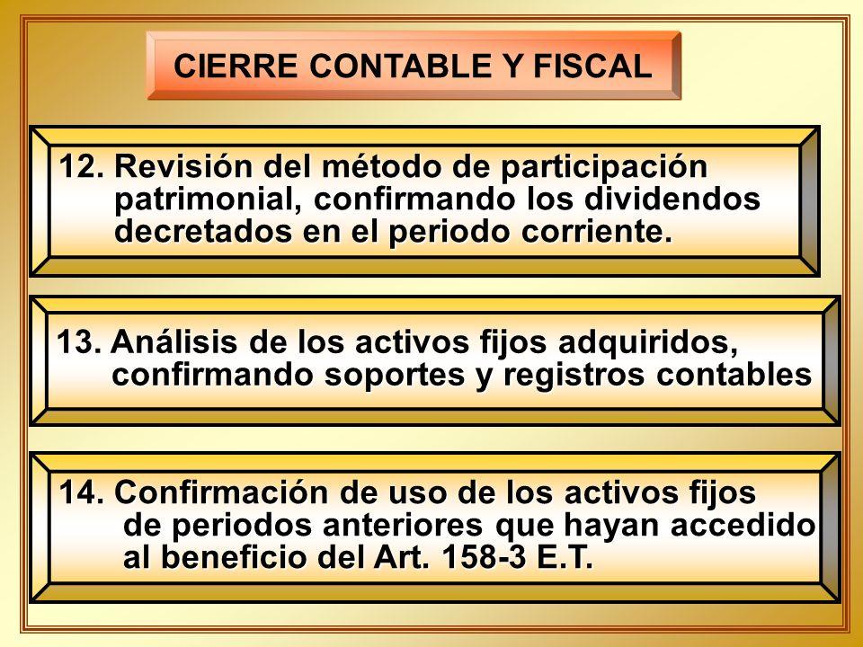 CIERRE CONTABLE Y FISCAL 12. Revisión del método de participación patrimonial, confirmando los dividendos patrimonial, confirmando los dividendos decr