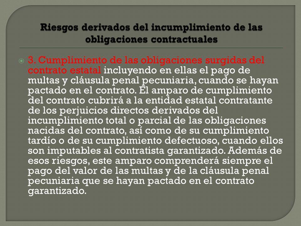 3. Cumplimiento de las obligaciones surgidas del contrato estatal incluyendo en ellas el pago de multas y cláusula penal pecuniaria, cuando se hayan p
