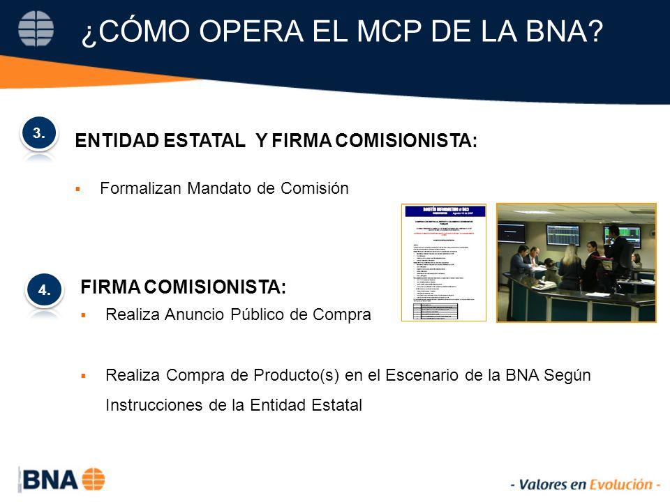 ENTIDAD ESTATAL Y FIRMA COMISIONISTA: Formalizan Mandato de Comisión ¿CÓMO OPERA EL MCP DE LA BNA.