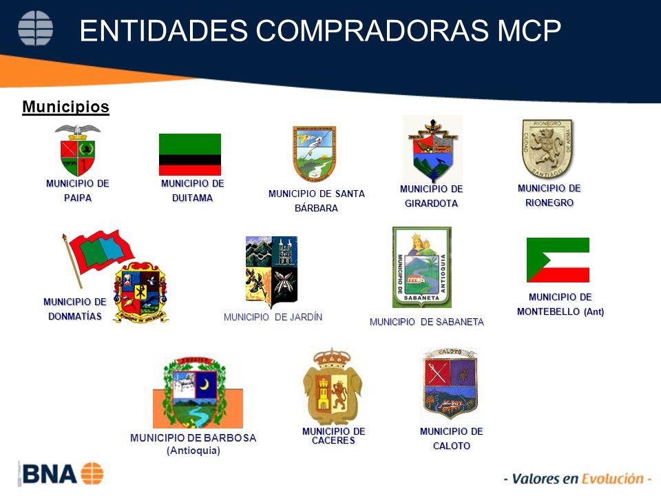 ENTIDADES COMPRADORAS MCP MUNICIPIO DE DONMATÍAS GIRARDOTA DUITAMA MONTEBELLO (Ant) MUNICIPIO DE JARDÍN MUNICIPIO DE SANTA BÁRBARA MUNICIPIO DE PAIPA MUNICIPIO DE SABANETA MUNICIPIO DE RIONEGRO CALOTO MUNICIPIO DE CACERES MUNICIPIO DE BARBOSA (Antioquia) Municipios