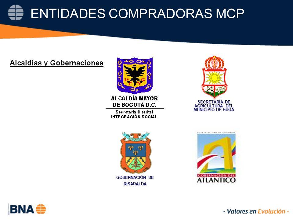 ENTIDADES COMPRADORAS MCP SECRETARÍA DE AGRICULTURA DEL MUNICIPIO DE BUGA GOBERNACIÓN DE RISARALDA Alcaldías y Gobernaciones