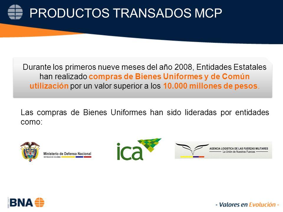 PRODUCTOS TRANSADOS MCP Durante los primeros nueve meses del año 2008, Entidades Estatales han realizado compras de Bienes Uniformes y de Común utilización por un valor superior a los 10.000 millones de pesos.