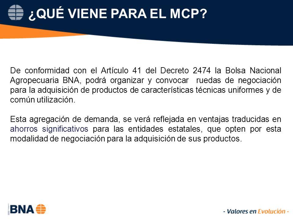 De conformidad con el Artículo 41 del Decreto 2474 la Bolsa Nacional Agropecuaria BNA, podrá organizar y convocar ruedas de negociación para la adquisición de productos de características técnicas uniformes y de común utilización.