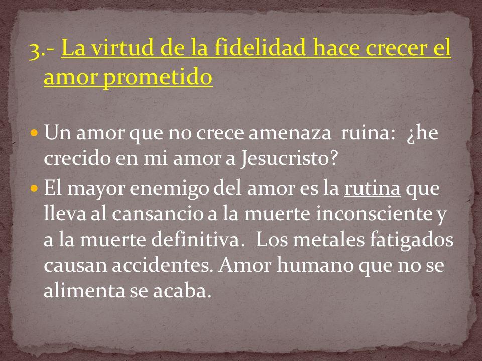 3.- La virtud de la fidelidad hace crecer el amor prometido Un amor que no crece amenaza ruina: ¿he crecido en mi amor a Jesucristo? El mayor enemigo