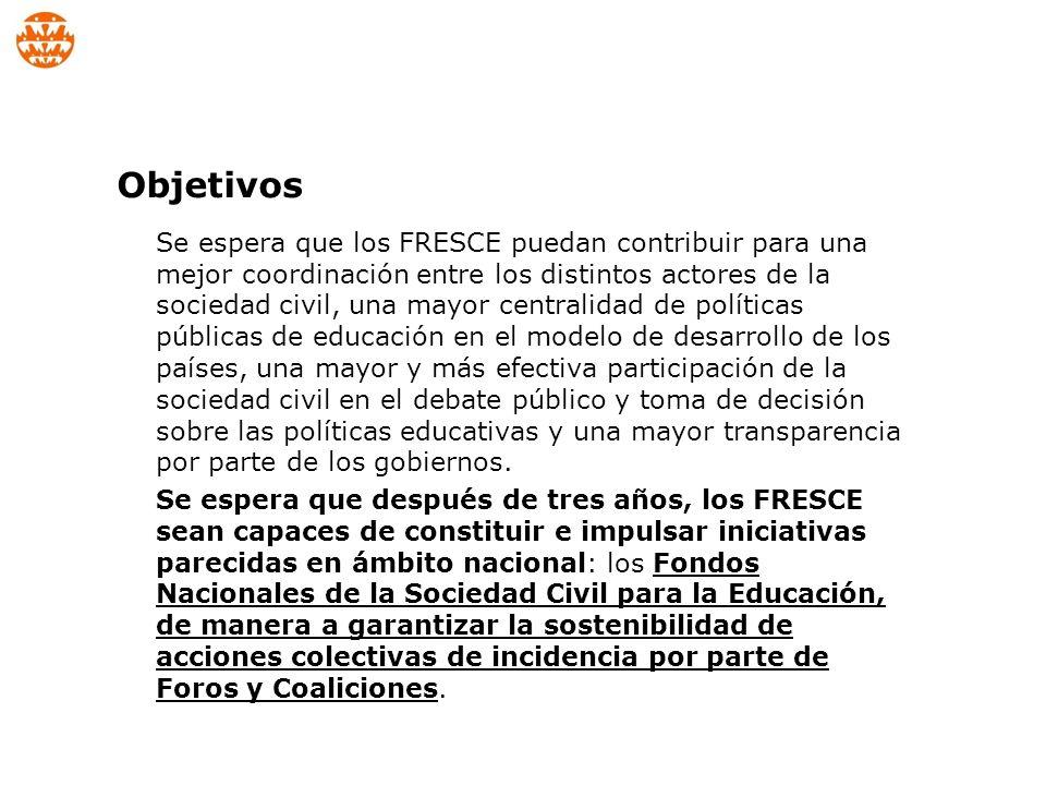 La Campaña Mundial Es la organización que coordina y responde por el Proyecto FRESCE ante al Fondo EPDF – Education Program Development Fund, rindiendo cuentas e este.