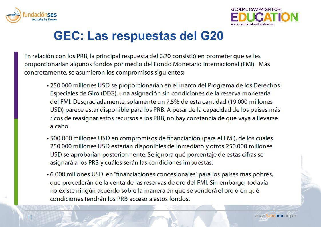 www.fundses.org.ar 11 GEC: Las respuestas del G20