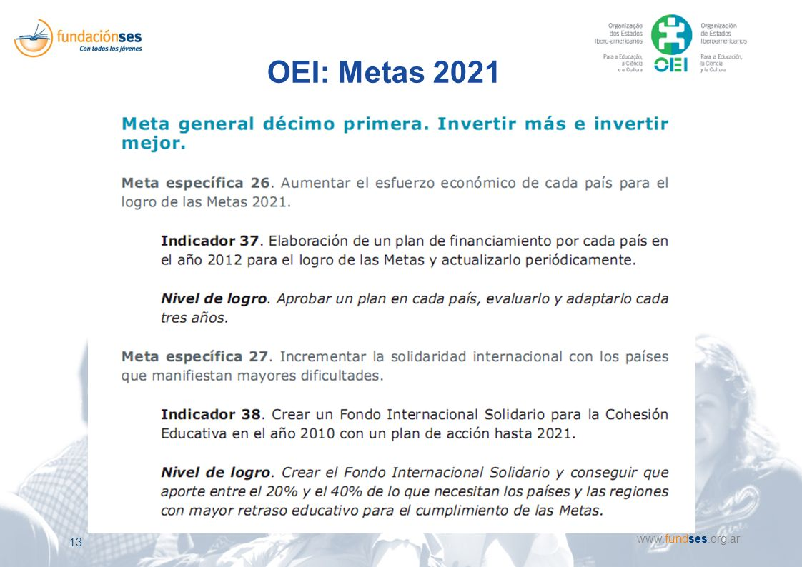 www.fundses.org.ar 13 OEI: Metas 2021