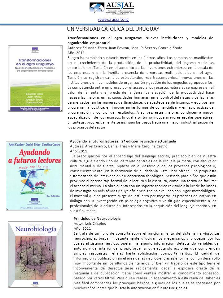UNIVERSIDAD CATÓLICA DEL URUGUAY www.ausjal.org Transformaciones en el agro uruguayo: Nuevas instituciones y modelos de organización empresarial Autor