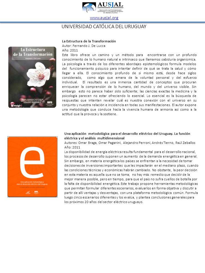UNIVERSIDAD CATÓLICA DEL URUGUAY www.ausjal.org La Estructura de la Transformación Autor: Fernando J. De Lucca Año: 2011 Este libro ofrece un camino y