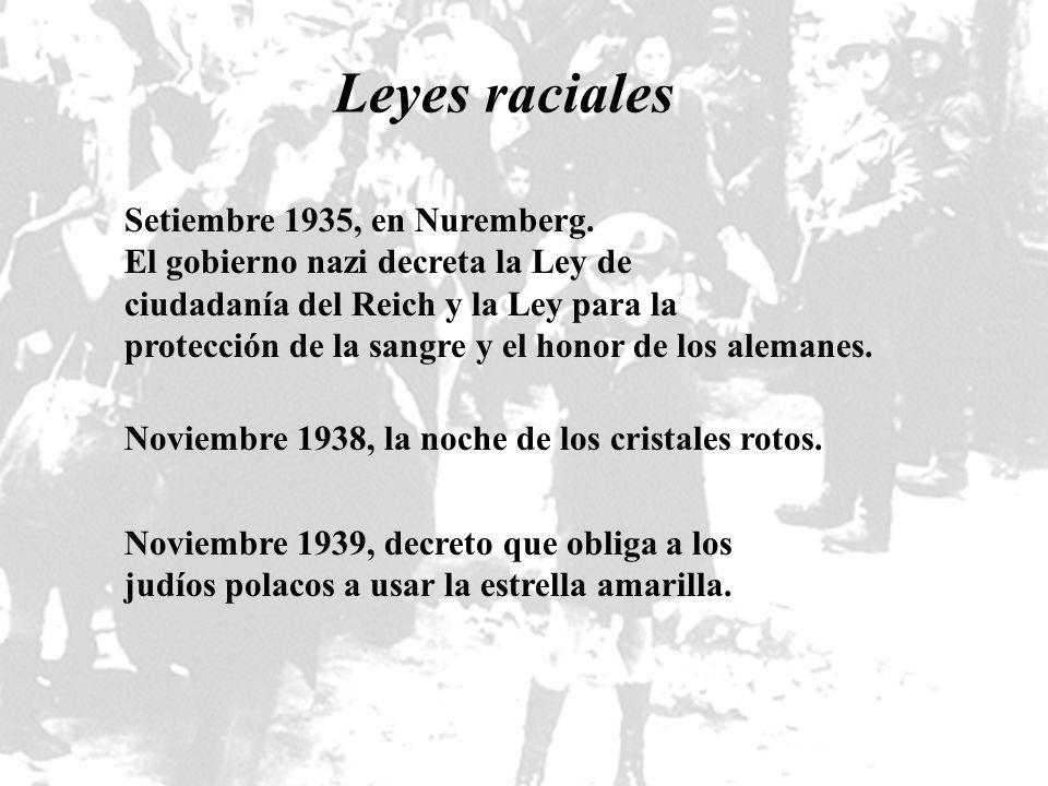 Leyes raciales Setiembre 1935, en Nuremberg. El gobierno nazi decreta la Ley de ciudadanía del Reich y la Ley para la protección de la sangre y el hon