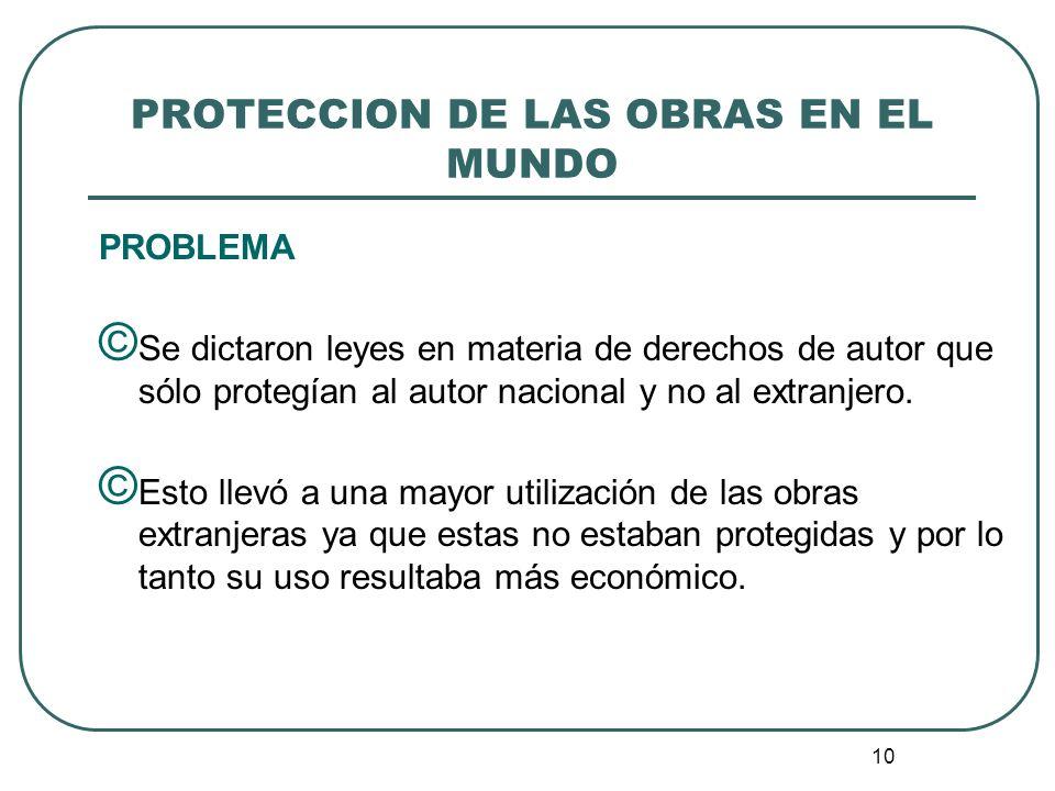 11 PROTECCION DE LAS OBRAS EN EL MUNDO RESPUESTA © Los gobiernos suscribieron tratados bilaterales para lograr una protección mutua de las obras y de sus autores.