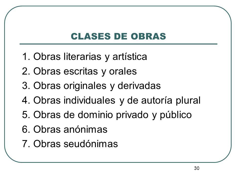 31 CLASES DE OBRAS 8.Obras póstumas 9. Obras musicales 10.