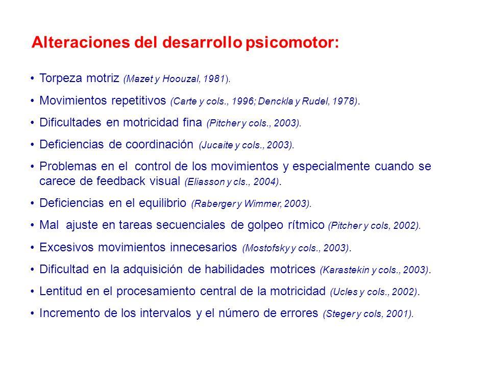 Alteraciones del desarrollo psicomotor: Torpeza motriz (Mazet y Hoouzal, 1981). Movimientos repetitivos (Carte y cols., 1996; Denckla y Rudel, 1978).