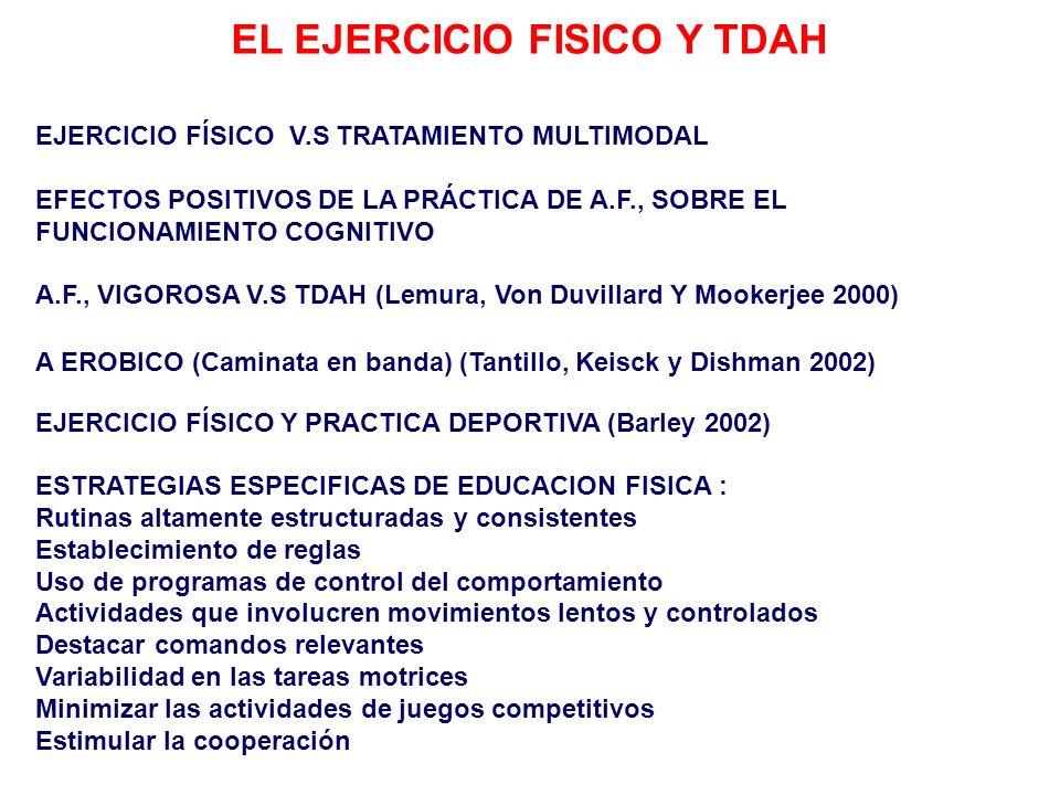 EL EJERCICIO FISICO Y TDAH EJERCICIO FÍSICO V.S TRATAMIENTO MULTIMODAL EFECTOS POSITIVOS DE LA PRÁCTICA DE A.F., SOBRE EL FUNCIONAMIENTO COGNITIVO A.F