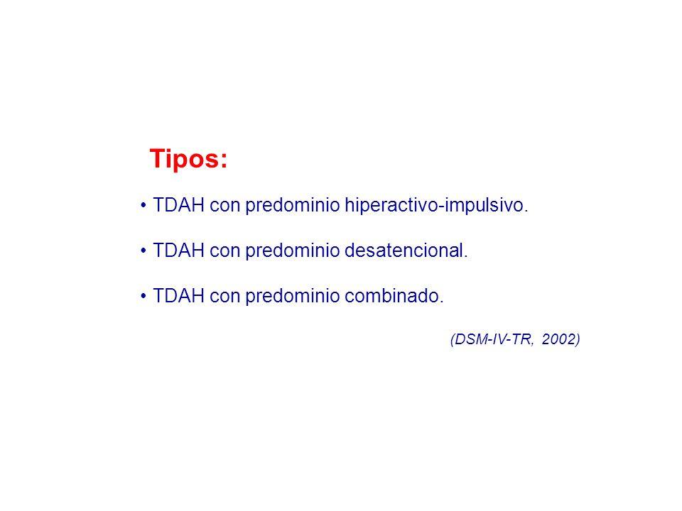 Tipos: TDAH con predominio hiperactivo-impulsivo. TDAH con predominio desatencional. TDAH con predominio combinado. (DSM-IV-TR, 2002)
