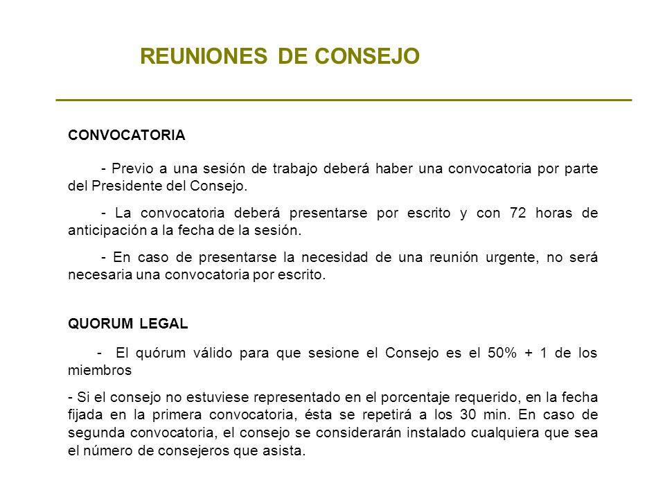 REUNIONES DE CONSEJO CONVOCATORIA - Previo a una sesión de trabajo deberá haber una convocatoria por parte del Presidente del Consejo. - La convocator
