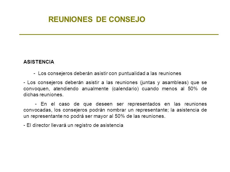 REUNIONES DE CONSEJO ASISTENCIA - Los consejeros deberán asistir con puntualidad a las reuniones - Los consejeros deberán asistir a las reuniones (jun