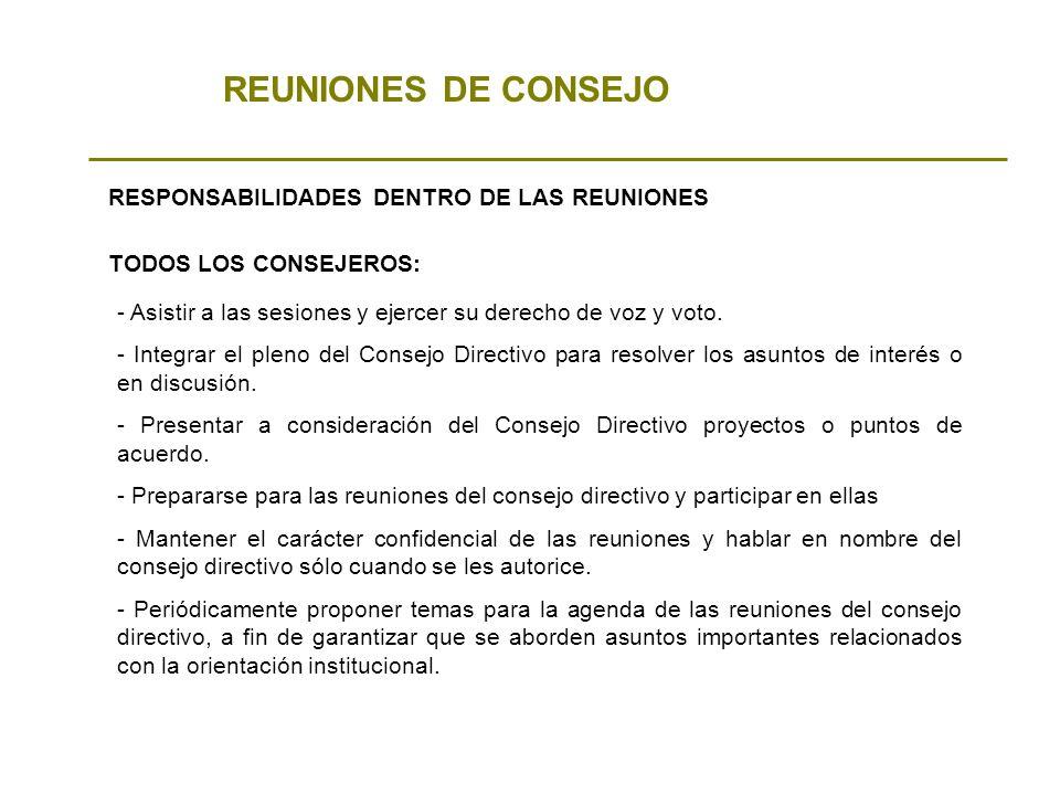 REUNIONES DE CONSEJO RESPONSABILIDADES DENTRO DE LAS REUNIONES - Asistir a las sesiones y ejercer su derecho de voz y voto. - Integrar el pleno del Co