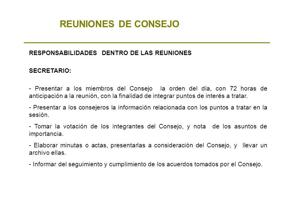 REUNIONES DE CONSEJO RESPONSABILIDADES DENTRO DE LAS REUNIONES - Presentar a los miembros del Consejo la orden del día, con 72 horas de anticipación a