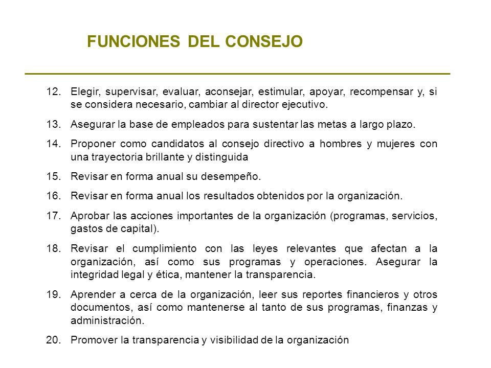 FUNCIONES DEL CONSEJO 12.Elegir, supervisar, evaluar, aconsejar, estimular, apoyar, recompensar y, si se considera necesario, cambiar al director ejec