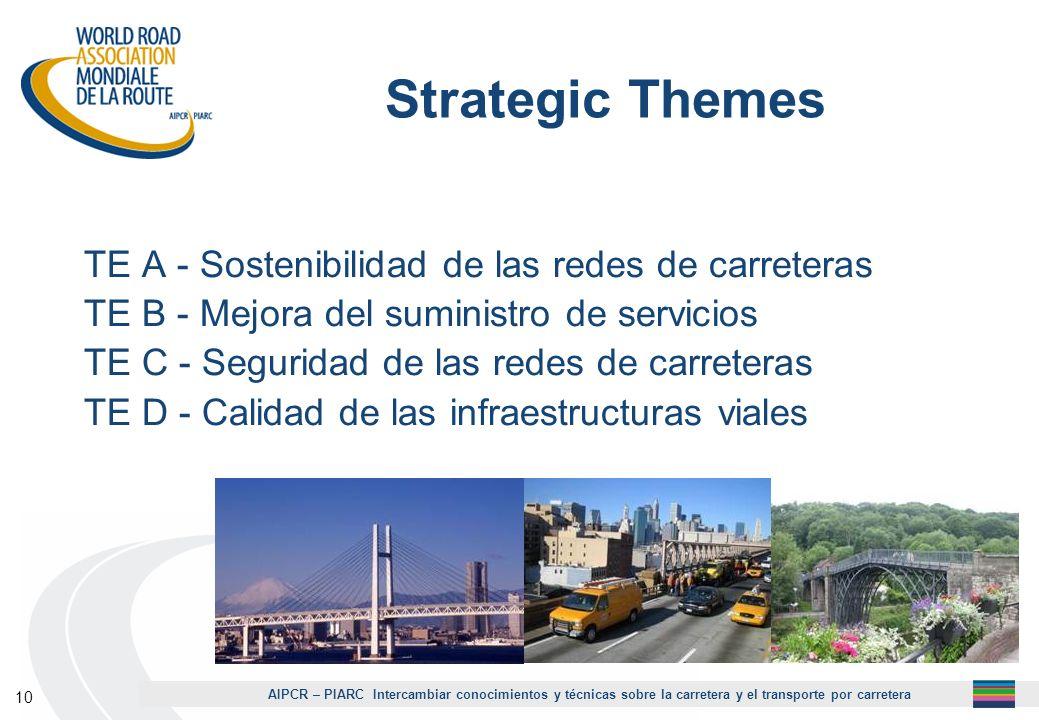 AIPCR – PIARC Intercambiar conocimientos y técnicas sobre la carretera y el transporte por carretera 10 Strategic Themes TE A - Sostenibilidad de las