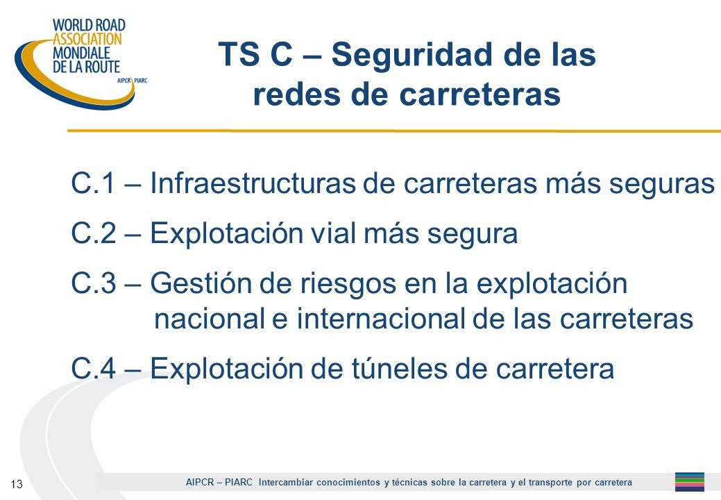 AIPCR – PIARC Intercambiar conocimientos y técnicas sobre la carretera y el transporte por carretera 13 TS C – Seguridad de las redes de carreteras C.