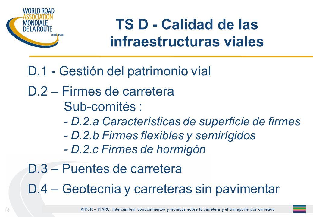 AIPCR – PIARC Intercambiar conocimientos y técnicas sobre la carretera y el transporte por carretera 14 TS D - Calidad de las infraestructuras viales