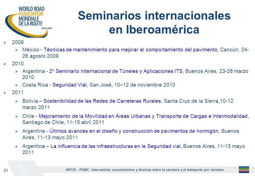 AIPCR – PIARC Intercambiar conocimientos y técnicas sobre la carretera y el transporte por carretera 21 Seminarios internacionales en Iberoamérica 200