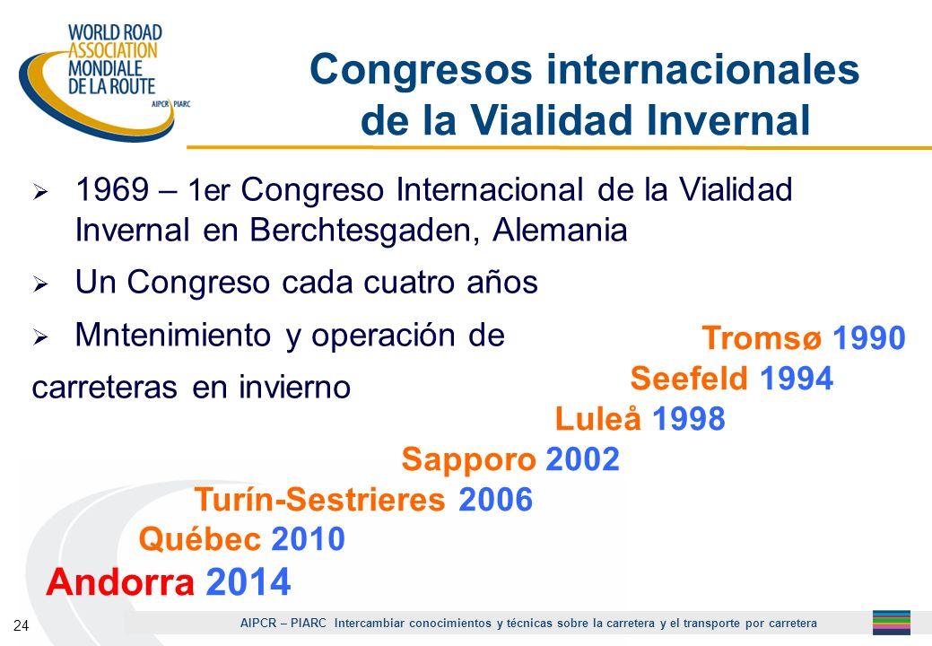 AIPCR – PIARC Intercambiar conocimientos y técnicas sobre la carretera y el transporte por carretera 24 Congresos internacionales de la Vialidad Inver