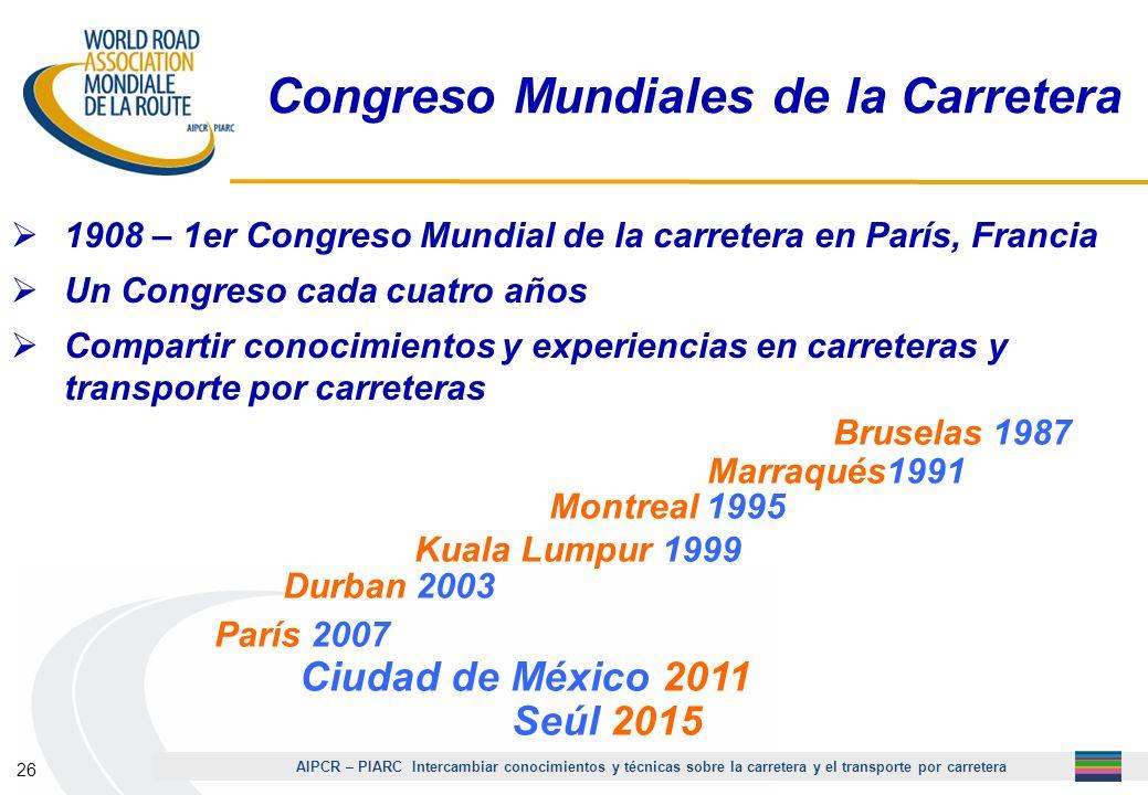 AIPCR – PIARC Intercambiar conocimientos y técnicas sobre la carretera y el transporte por carretera 26 Congreso Mundiales de la Carretera 1908 – 1er