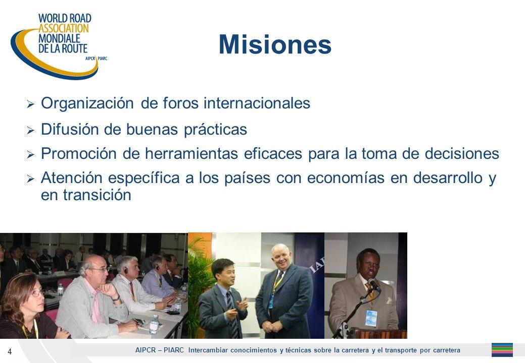 AIPCR – PIARC Intercambiar conocimientos y técnicas sobre la carretera y el transporte por carretera 4 Misiones Organización de foros internacionales
