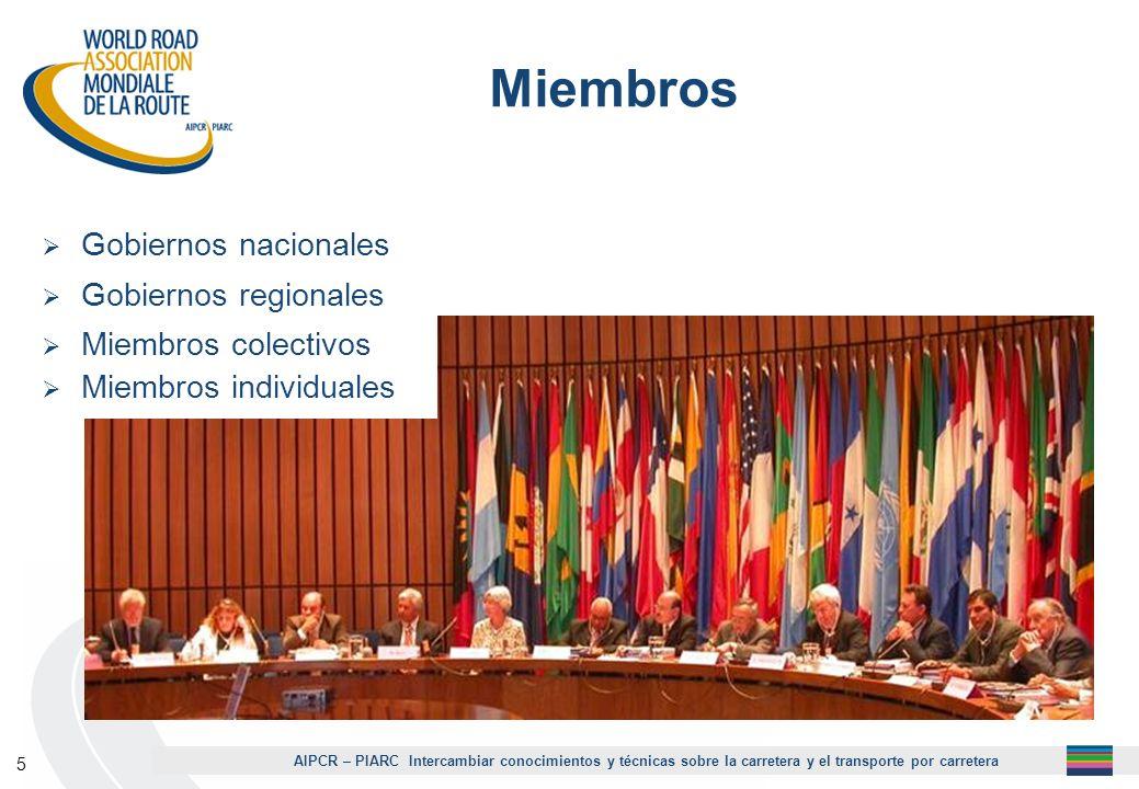 AIPCR – PIARC Intercambiar conocimientos y técnicas sobre la carretera y el transporte por carretera 6 118 Gobiernos miembros - 33 en Europa 32 en África 31 en Asia y Oceanía 22 en América La totalidad de países hispanohablantes son miembros de la AIPCR