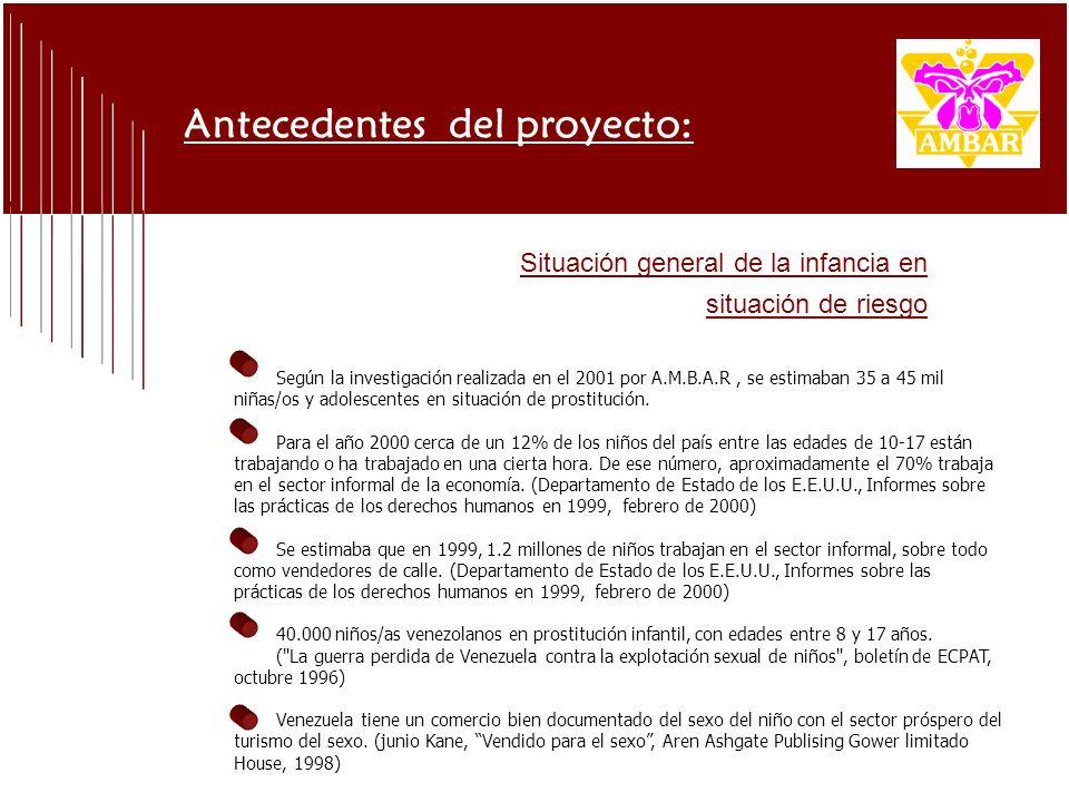 Según la investigación realizada en el 2001 por A.M.B.A.R, se estimaban 35 a 45 mil niñas/os y adolescentes en situación de prostitución.